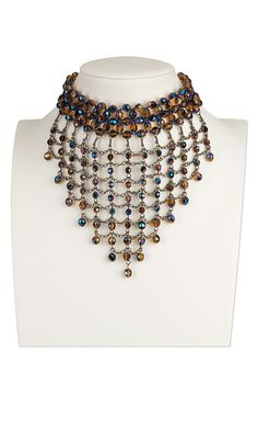 Jewelry Design - Choker-Style Necklace with Czech Fire-Polished Glass Beads and Antiqued Brass Chain - Fire Mountain Gems and Beads