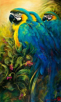 """Jungle Blue"" by Jenni Kelly, available now as a fine art reproduction at… Watercolor Animals, Watercolor Art, Parrot Image, Parrot Wallpaper, Art Themes, Vintage Birds, Realism Art, Elements Of Art, Wildlife Art"