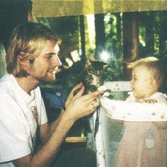 Kurt Cobain, his daughter, and a kitten, 1993.  I found this image while browsing the photos posted by the Instagram user named: History In Pictures (@historyphotographed on Instagram). #triciadaniels