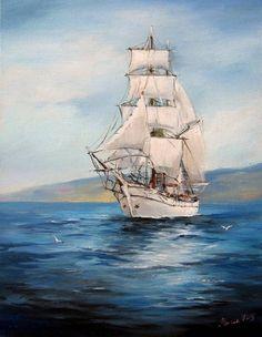 Ship Paintings, Happy Paintings, Boat Painting, Painting & Drawing, Bateau Pirate, Old Sailing Ships, Sailboat Art, Ship Drawing, Sea Art