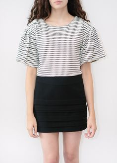 Checkered Pleated Sleeved Crop Top by Joa