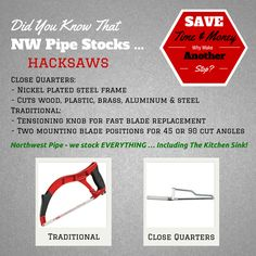 #DidYouKnowTuesday It's Did You Know Tuesday! Every Tuesday we will be highlighting a product or product line that you probably weren't aware we stocked! We are your one stop shopping experience! #EverythingIncludingTheKitchenSink #InStock #hacksaws