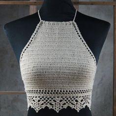 Bikinis Crochet, Crochet Bra, Crochet Blouse, Crochet Motif, Crochet Patterns, Tops Tejidos A Crochet, Crochet Crop Top, Hotel Spa, Halter Tops