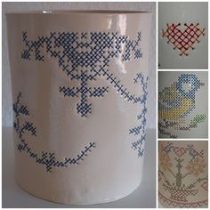 Cool way to introduce counted cross stitch into pottery. Embroidered ceramics b… Cool way to introduce counted cross stitch into pottery. Embroidered ceramics by Irene. Ceramic Pottery, Ceramic Art, Ceramic Mugs, Ceramic Techniques, Paperclay, Art Lessons, Stoneware, Weaving, Cross Stitch