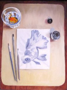 An Oil Painting of an Ink Painting - This is the ink and brush painting from above, but rendered into a still life.