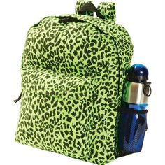 Extreme Pak Neon Green Leopard Print Backpack