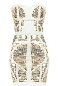 Dancing Queen Dress: Features a super feminine sweetheart neckline, matte white foundation with glittering gold geometric panels to the front, solid white backside with centered rear zip closure, and a beckoning body-conscious silhouette to finish.