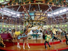 Coolidge Park Carousel, Chattanooga, TN, all of the animals on the carousel is hand carved and painted locally