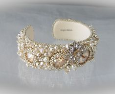 love champagne and silver together, wedding bracelet with pearls and Swarovski crystals, bead embroidery by Angie Mézes Beaded Jewelry Designs, Beaded Jewellery, Handmade Beaded Jewelry, Seed Bead Jewelry, Diy Jewelry, Diy Bead Embroidery, Bead Embroidered Bracelet, Embroidery Bracelets, Beaded Bracelets