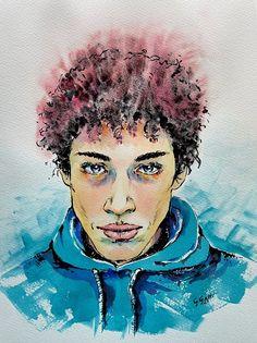 Boy in blue sweatshirt, watercolor and ink on paper, by Giulia Gatti Watercolor And Ink, Watercolor Paintings, Damask Rose, Gray Eyes, Red Earrings, Watercolors, Sweatshirt, Portraits, Gallery