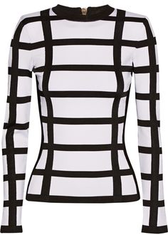 Balmain Checked Stretch-Knit Top