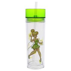 Disney Parks Tinker Bell In A Bottle Tumbler With Straw Transclucent acrylic bottle allows you to see liquid contents Twist-tight lid with hole for straw Matching reusable straw flares at bottom so it Disney Water Bottle, Tumbler With Straw, Disney Crafts, Cute Disney, Mug Cup, Disney Parks, Tinkerbell, Sippy Cups, Painted Rocks