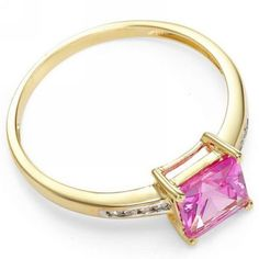 Sapphire, Pink 10K Yellow Gold Solitaire with accents Ring Size 8 USA Bling #silvestromedia #SolitairewithAccents