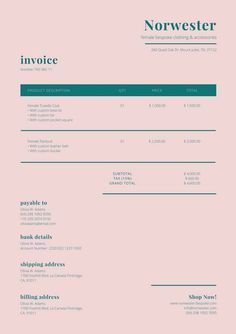 Identity Pale Pink & Dark Teal Invoice Using A Room Humidifier For Health Aspects During the year ma Invoice Design Template, Resume Design, Branding Design, Templates, Corporate Design, Business Design, Book Design, Layout Design, Self Branding