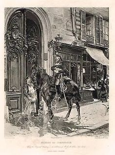 """Photogravure ANTIQUE PRINT - """"BEARER OF DIPATCHES"""" by G. Boldini - 1903"""