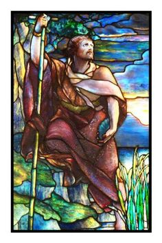 St. John the Baptist inspired by the work of Art Nouveau and Stained Glass Artist Louis Comfort Tiffany Counted Cross Stitch or Counted Needlepoint Pattern