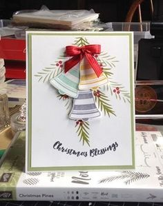 """Seasonal Bells, Bell punch, Christmas Pines, Real Red 3/8"""" Stitched Satin Ribbon"""