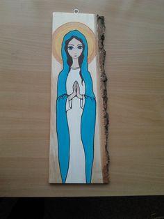 Maryja malowana farbami akrylowymi na desce z korą brzozową