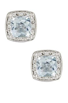 Pave Diamond & Aquamarine Cushion-Shaped Stud Earrings