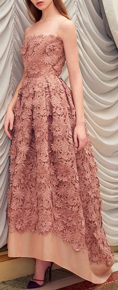 RAMI AL ALI Embroidered Floral Organza Mullet Gown
