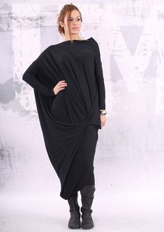 Black loose maxi dress / plus size dress / oversized tunic dress / long tunic dress /  - CL004