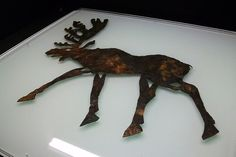Appliqué in the shape of an elk. Pazyryk culture, pazyryk burial mound 2, Altai. 5th-3rd century BC. Leather