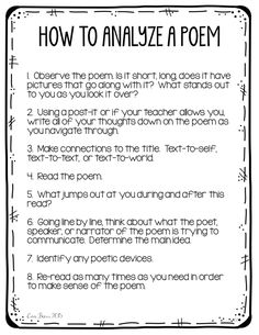 Poetry Analysis for Middle School Students
