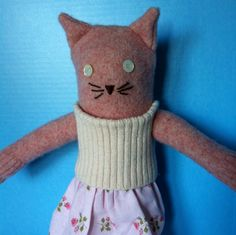 Sweet Pink Sweater Kitty Cat Doll Recycled. $48.00, via Etsy.