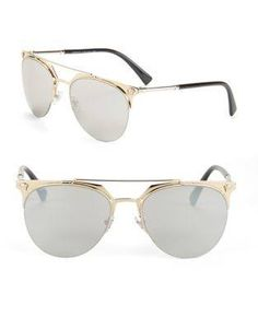 Versace Clubmaster Mirrored Sunglasses In Brown Mirror Versace Men, Signature Logo, Mirrored Sunglasses, Mens Fashion, Brown, Gold, Accessories, Shopping, Style