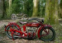 Two classic Indians: One restored  and one original. Photo by Frank Kletschkus, Motorcycle Classics September/October 2006.
