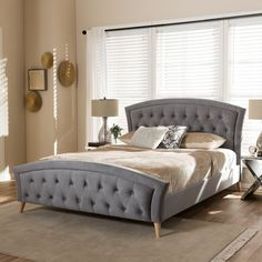 Contemporary Gray Fabric Platform Bed by Baxton Studio | Overstock.com Shopping - The Best Deals on Beds