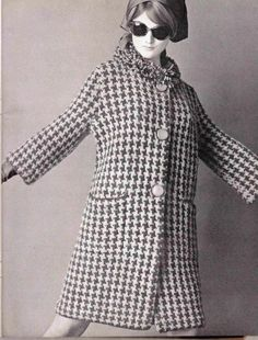 Knit Pattern  Houndstooth Button Down Coat by suerock on Etsy, $3.99