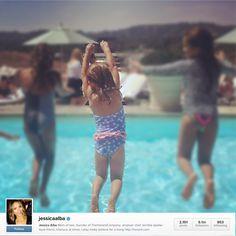 7b0c069b8f Jessica Alba s little one Haven Warren in Platypus Australia Lace Frill  Swimsuit