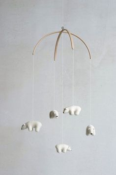 nursery mobile baby mobile Polar bear mobile white by Patricija