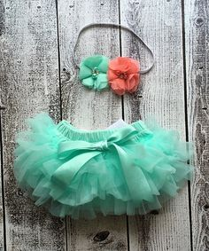 Love this Ella's Bows Coral & Aqua Flower Headband & Tutu Bloomers by Ella's Bows on #zulily! #zulilyfinds
