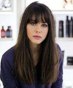 Easy Long Straight Hairstyles with Bangs for Girls and Women Which Are Easy to Manage Providing Trendy Look. Long Straight Hairstyles are Ever Cool Hairstyles and Fringes are Creating Additional Beauty for Girls and Women. Haircuts With Bangs, Long Bob Hairstyles, Trendy Hairstyles, Bob Haircuts, Long Hairstyles With Fringe, Fringe With Long Hair, Long Hair With Bangs And Layers, Gorgeous Hairstyles, Layered Hairstyles