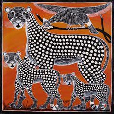 "Leopard Family with Birds  Rashidi Rubuni - Dar-es-Salaam, Tanzania (member of Tinga Tinga Arts Cooperative Society) c. 2010 Oil enamel on canvas (23 1/2"" h x 23 1/2""w).  Rashidi Rubuni was born in 1969, in Livangula, Tanzania. He started painting with the TingaTinga cooperative soon after arriving in Dar es Salaam, in 1988. - Indigo Arts Gallery   Art from Africa   Tinga Tinga Paintings from Tanzania - Archive Gallery"