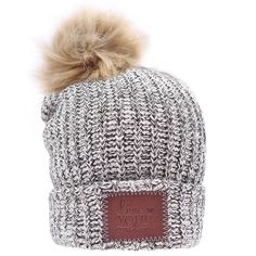 d309d042529 Black Speckled Cuffed Pom Beanie (Natural Pom)