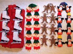 skates, elves, gingerbread, penguin scarves