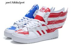 quality design 85f0d 3eb06 Verdadero Jeremy Scott X Adidas Originals JS Wings 2.0 Zapatillas USA  Bandera Blanca con Azul y
