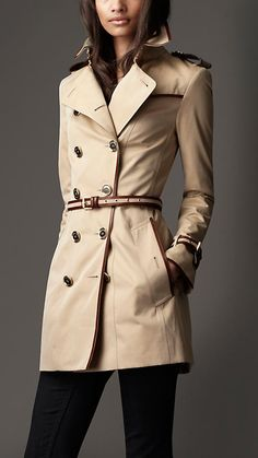 Burberry London Mid-Length Cotton Gabardine Leather Detail Trench Coat