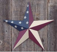 Solid Olde Glory - Country Style American Flag - Galvanized Metal Tin Painted Barn Star