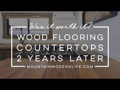 Our Wood Flooring Countertops - 2 Years Later Solid Wood Countertops, Epoxy Countertop Kit, Granite Tile Countertops, Butcher Block Countertops, Diy Butcher Block Counter, Butcher Block Wood, Diy Barn Door, Sliding Barn Door Hardware, Barn Doors