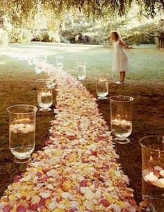 Weddbook ♥ pretty rose petal aisle. Country wedding decoration with pink roses and candles.  rose pink decor ceremony  #rose #pink #decor