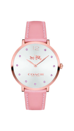 Luxury meets fashion in the Coach Slim Easton watch, a feminine timepiece with an elegant edge. Genuine Coach leather surrounds a 35mm ultra-thin rose gold-tone case, while sparkling pink Swarovski crystals add a subtle pop-of-color and shine to the dial, making this timepiece the perfect statement for women this fall. 10% of retail sales of this watch from October–December 2016 will be donated to support the Breast Cancer Research Foundation. $225.