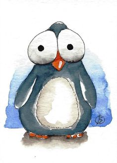 ACEO Original watercolor painting Lucia Stewart whimsical animal Baby Penguin…