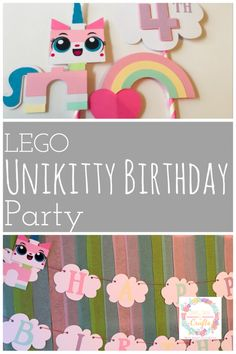 Create an awesome LEGO Unikitty Birthday Party on a budget with these ideas and decorations from birthday banner to cake topper and more. #UnikittyBirthdayParty #LEGO #LEGOUnikitty #Unikitty #KIdsBirthday #KIdsParty