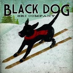 Ryan Fowler 'Black Dog Ski' Gallery Wrapped