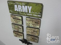 I know it's kinda corny but I would like something like this. Could be cute for the boys to know everywhere we go :)  Army Sign  Duty Station Sign  Home is Where the ARMY by BornOnBonn, $36.50