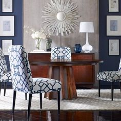 Don't be afraid of patterns or bold colors. We'll show you how you can tie them together and still get that sophisticated look you desire!  #ambiance #ambiancehome #interiordesigners #interiordesign #boldcolor #boldpatterns #styleyourhome #inspiration #orangecounty #orangecountydesign #irvinedesign #furniture #irvinefurniturestores #bebold #beinspired #navyblue #neoclassic #neoclassicinspiration #elegance #sophistication #diningrooms